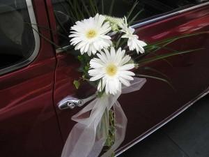 manilla coche boda de gerberas