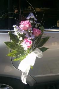 manilla coche boda de rosas